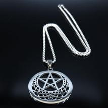 Sun Moon Pentagram Stainless Steel Silver Color Necklace image 5