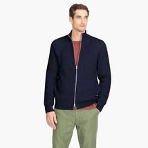 J. Crew Knit cotton funnelneck zip-up sweater-jacket Navy Size Large - $83.60