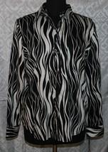 Chaps Button Front Shirt L Top Zebra Animal Print New Black White NWT Womens  - $33.87