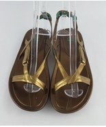 Cole Haan Sandals 9.5 G Series Air Gold Strappy Flat - $28.05