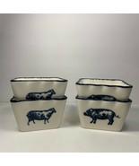 "Farmhouse Sheep Pig Square Bowls Set/4 Dips Food Prep 10 oz 2 1/3"" Tall ... - $19.79"