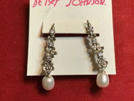 BETSEY JOHNSON 925 Silver Crystal Rhinestone Flowers Dangle Long Drop Earring BJ - $39.59
