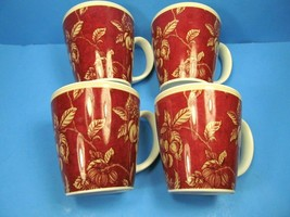4 WAVERLY Garden Room Fruit Toile Coffee Tea Mugs Cups Set 4 - $28.13