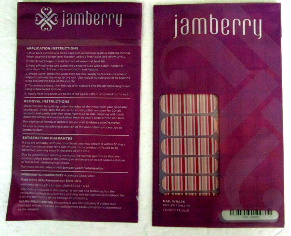 Primary image for Jamberry Nail Wraps DEAREST Pink Mauve White Striped