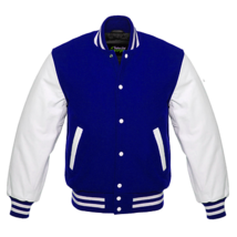 Varsity best Quality Letterman Jacket Blue Wool with White Real Leather ... - $89.99
