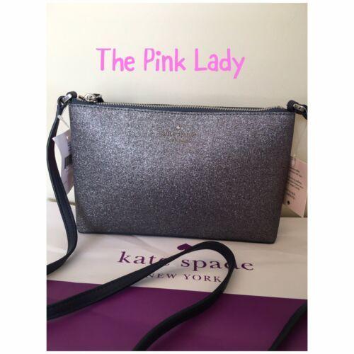 KATE SPADE %Authentic Joeley Smooth Glitter Dust Navy Crossbody Bag (WKRU6288)