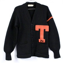 "1940s Vtg Roper Worsted WOOL LETTERMAN Sweater Sz 38 M "" T"" Orange  Wres... - $90.99"