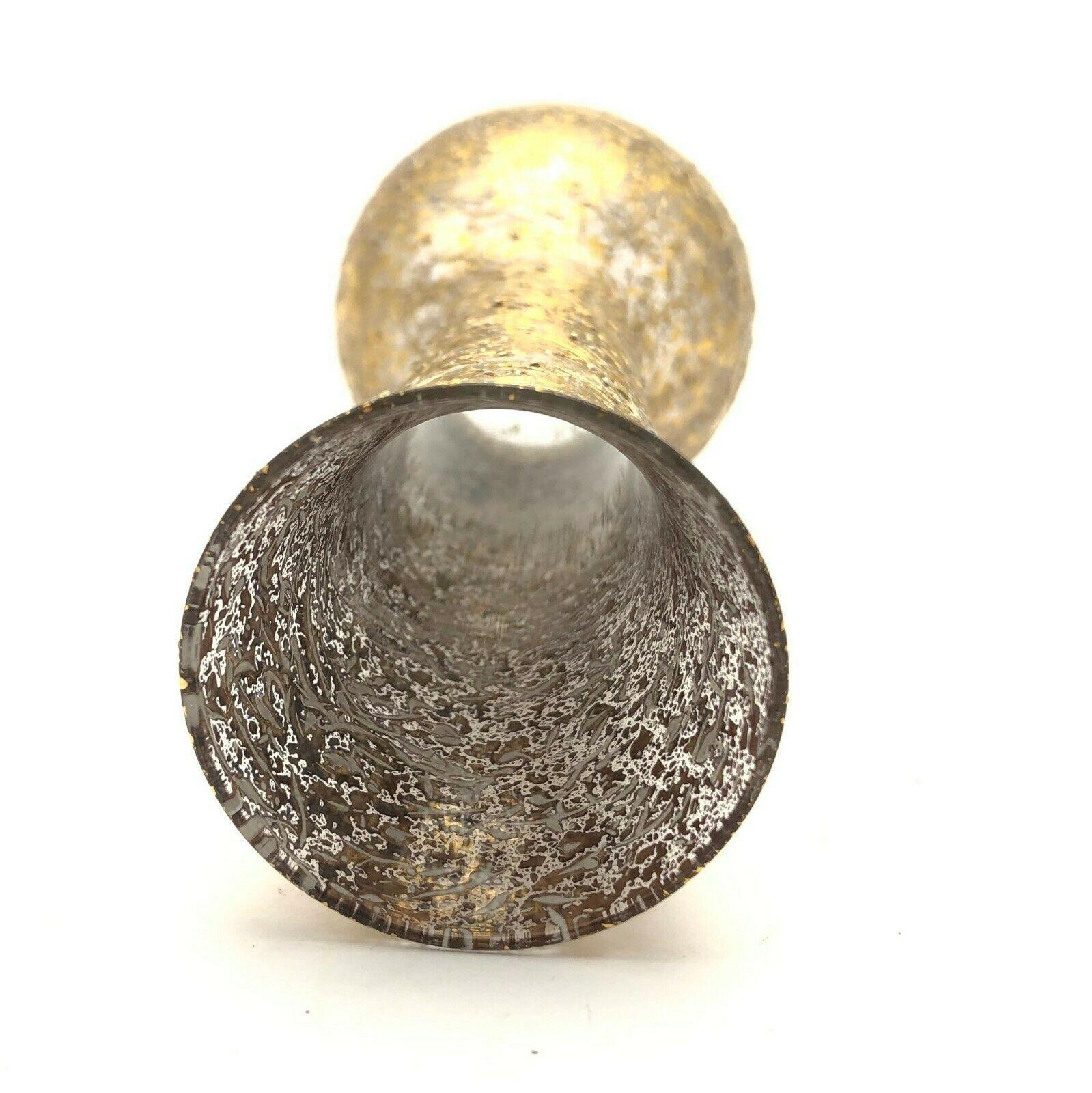 """West Virginia Glass 6"""" Vintage Art Glass Vase Gold Speckled Hollywood Regency"""