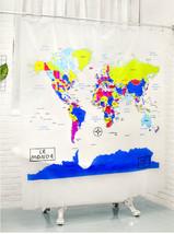 WORLD MAP Colorful Printed EVA Plastic 180 x 200 cm Bathroom SHOWER CURT... - $39.99