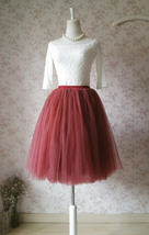 BURGUNDY Midi Tulle Skirt Womens High Waisted Burgundy Wine Red Tulle Skirts   image 3