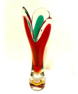 Art Glass Vase Red Green Encased Flower Heavy Clear Base 9.5 inches Tall - $67.32