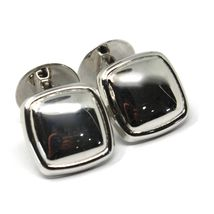 18K WHITE GOLD CUFFLINKS, ROUNDED SQUARE BUTTON, MADE IN ITALY image 4