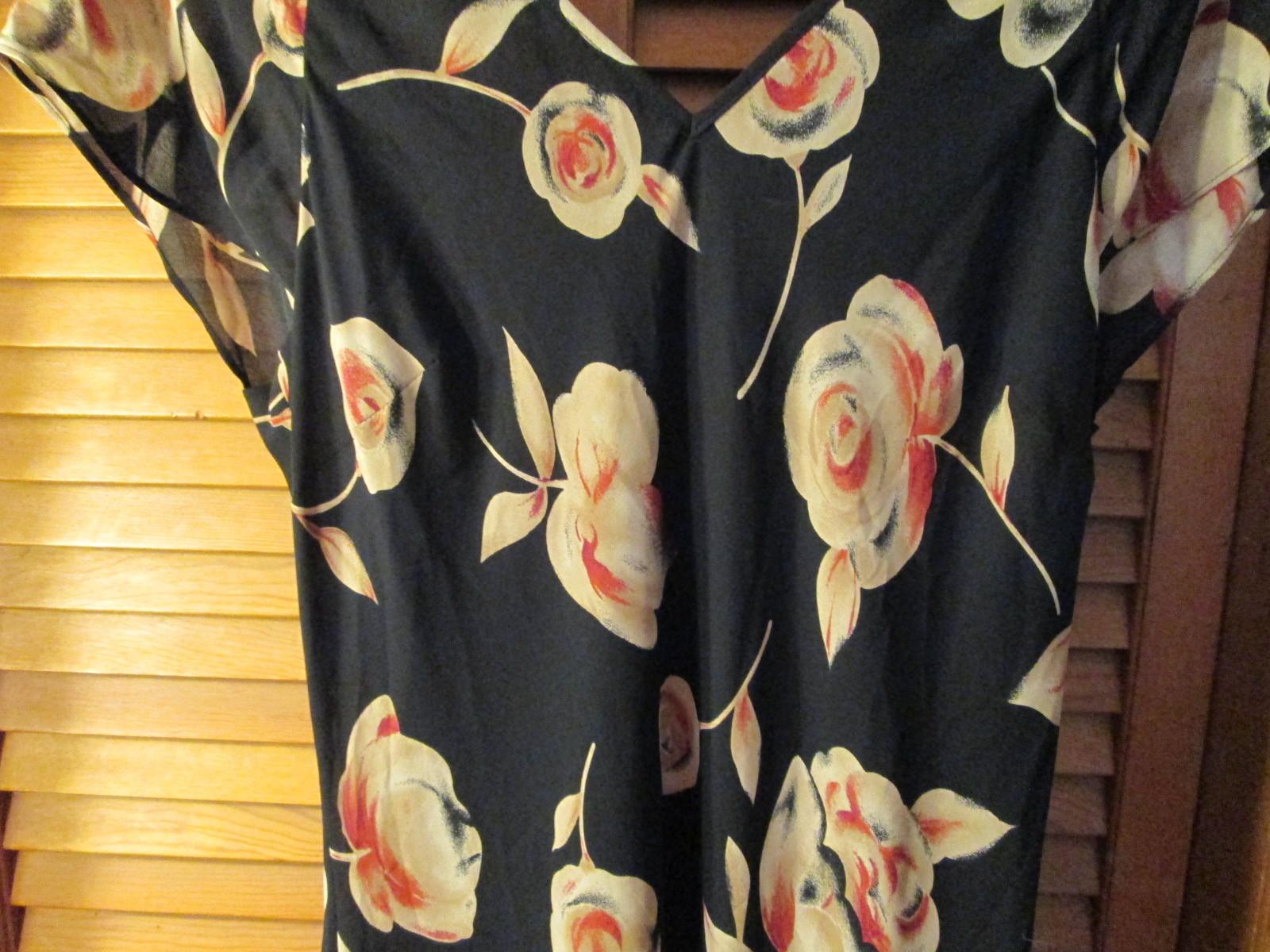 Womens Dress Size 16 David Benjamin Black w/tan & red floral TF292/ALS