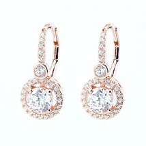 ZirconZ-Pave Solitaire & Bezel Signity CZ Sterling Silver Lever Hoop Earrings - $49.99