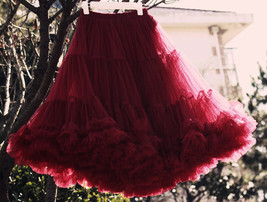 Burgundy Midi Puffy Tutu Skirt Burgundy High Waisted Layered Tulle Skirt Plus  image 6
