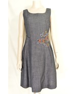 Tabitha dress 10 gray small checks applique embroidery fitted waist pleats - $39.59