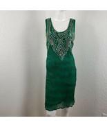 Vintage Embellished Silk Dress Green Trophy Art Deco Flapper Style Size ... - $89.99