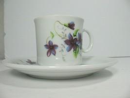 Brillion Demitasse Cup Saucer Violets Gold Vintage - $8.32