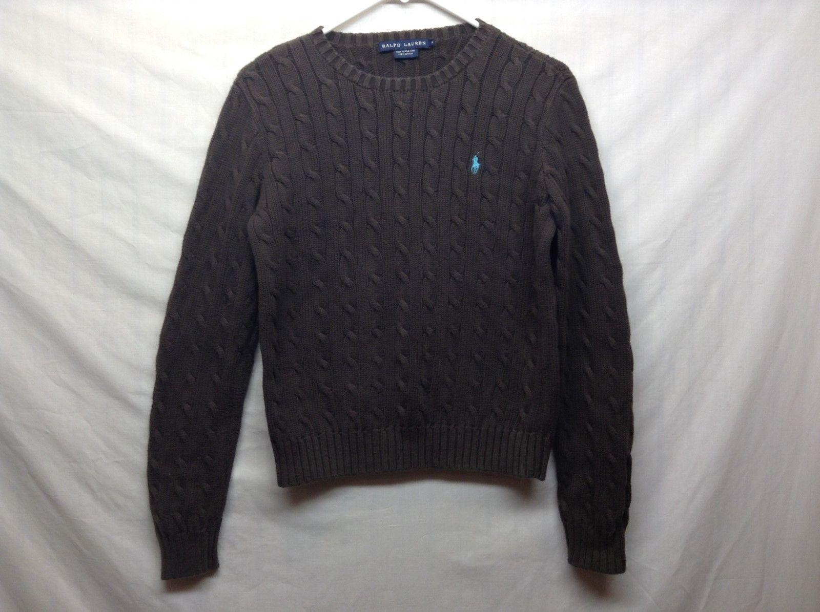 Ladies Ralph Lauren Brown Sweater w Blue Polo Logo Sz M