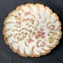 """Beau Ancien Limoges Doré & Floral 8 1/2"""" Plaque - $45.34"""