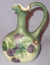 Antique Porcelain P H Leonard Vienna Austria Blackberry Painted Ewer Pitcher  - $195.00