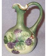 Antique Porcelain P H Leonard Vienna Austria Blackberry Painted Ewer Pit... - $195.00