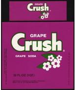 Vintage soda pop bottle label GRAPE CRUSH SODA 32oz unused new old stock... - $9.99