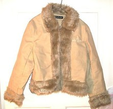 Baby Phat Beige Imitation Suede Leather Jacket with Faux Fur Accents Sz M - $61.75
