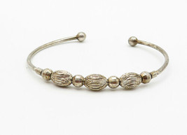 925 Sterling Silver - Vintage Etched Ball Bead Petite Cuff Bracelet - B6137 image 2