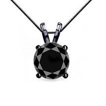4CT Femmes Unique Diamant Noir 4 Broches 14K Bg Solitaire Écrin pour Col... - $315.02+
