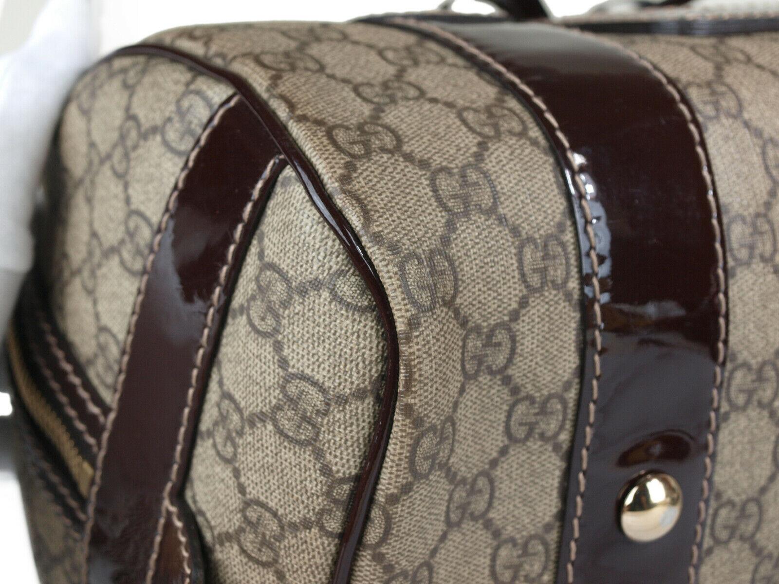 GUCCI GG Web PVC Canvas Patent Leather Browns Shoulder Bag GS2242 image 5