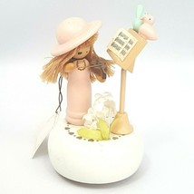 Vintage Lefton Revolving Music Box Girl Playing Violin Birds Beatles Yesterday - $37.19