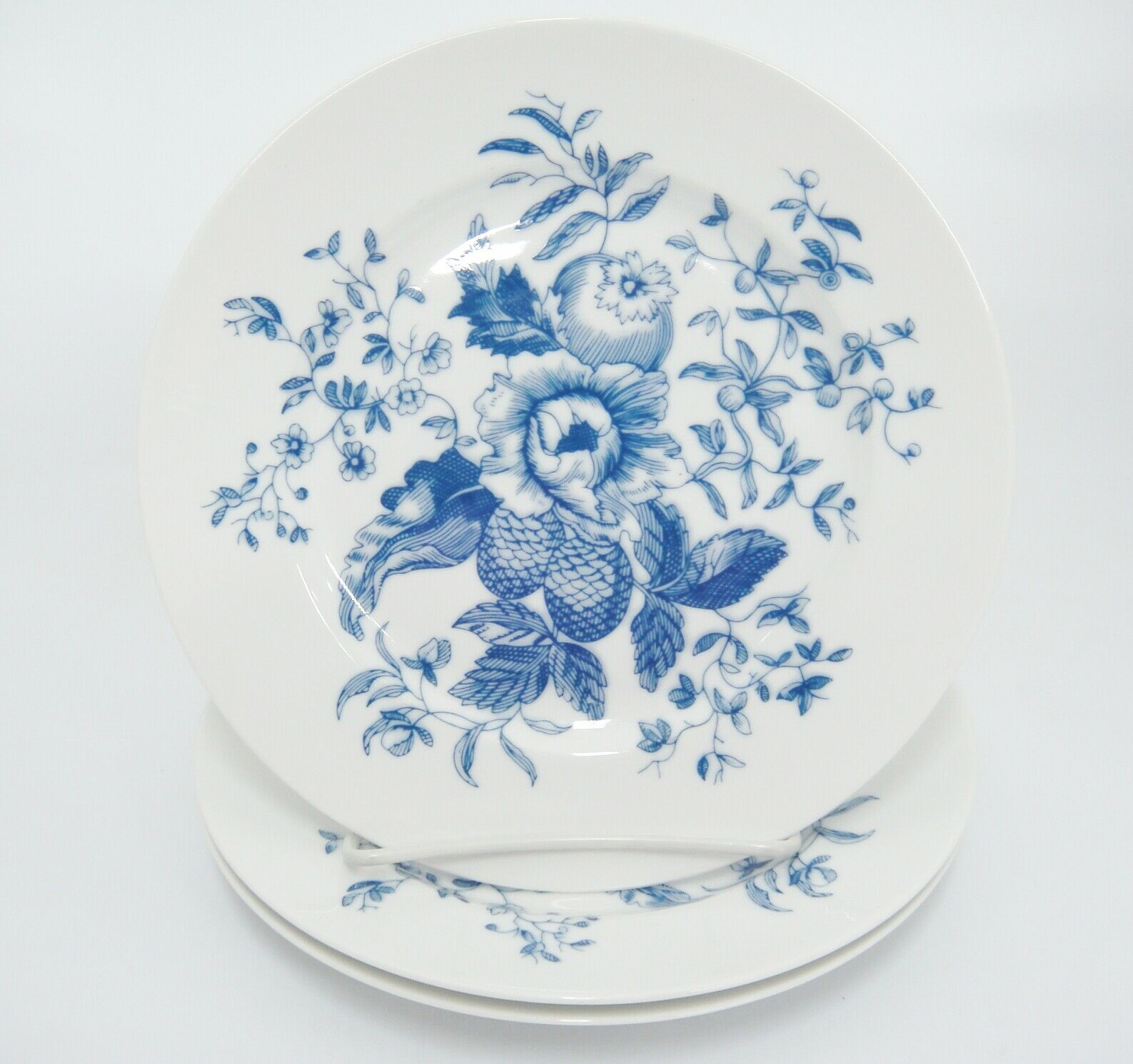 Royal Worcester Rhapsody Salad Plates Lot of 3 Blue Floral England Excellent image 2