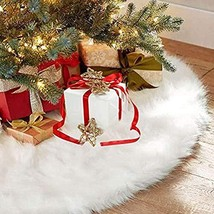 AWLGAK Christmas Tree Skirts White Plush Luxury Faux Fur Tree XmasTree S... - $37.91