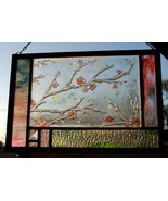 Stained Glass Window Abstract Panel Spring Blossoms pink green turquoise   - $175.00
