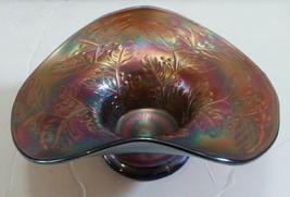 Carnival Glass Candy Dish Bowl Purple Blue Iridescent Damaged Display It... - $13.40
