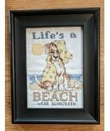 """Life's a beach...""Framed Cross Stitch Picture cute dog on Beach Needlep... - £9.70 GBP"