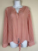 Chico's Womens Size 2 Pink Striped Front Tie Blouse Long Sleeve V Neck - $19.80