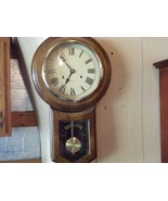 VINTAGE REGULATOR CHIME KEYWIND WALL CLOCK WITH KEY 31 DAY CHIMES - $168.25