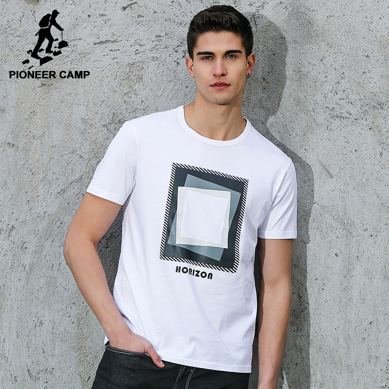 Pioneer Camp Men T Shirt New 2017 Cotton Simple Print: Pioneer Camp Men T-shirt Brand Clothing 2018 Summer New