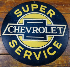 "Chevrolet Super Service Auto Dealership Style 14"" Round Heavy Duty Metal Sign - $35.96"
