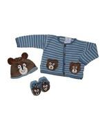Baby Boys Handmade 3pcs Size 18 Months Blue Sweater Hat Socks Teddy Bear NEW - $30.68 CAD