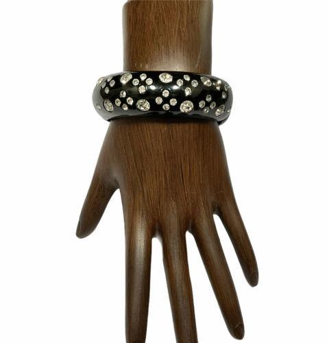 Vintage Weiss Clamper Bracelet Black Lucite Clear Rhinestones - $47.69