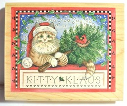"""Santa Cat Christmas Rubber Stamp Kitty Klaus Holiday Stamps Bird 5"""" Wide 80076 - $15.97"""