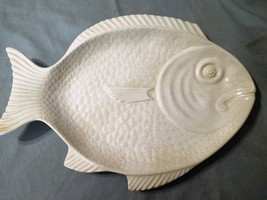 China Ceramic SECLA FISH PLATE SERVING PLATTER Portugal White Embossed 1... - $49.99