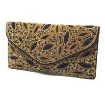 Wedding Clutch, Gold evening Bag, Black Beaded Clutch, Fashion clutch, P... - $112.64