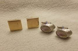 Vintage Lot 2 Swank Silver Gold Tone Modern CUFF LINKS Square Oval Shiney - $9.69