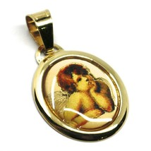 Pendant Medal Yellow Gold 750 18K, Oval, Angel Guardian with Enamel - $140.63