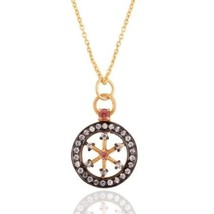 Natural Pink Tourmaline CZ 18K Gold Plated Sterling Silver Chain Pendant... - $35.64
