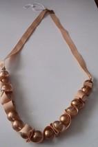 "Womens Tan Ribbon 13-1/2"" Chunky Beaded Necklace Fashion Jewelry - $14.01"